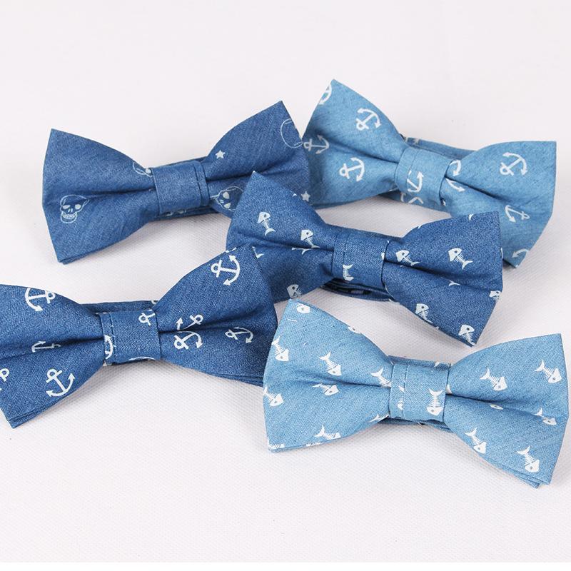 [해외]패션 앵커 보우 타이 남자 & s 코튼 나비 정장 영국 스타일 Bowtie 블루 생선 두개골 인쇄 웨딩 파티 Cravat/Fashion Anchor Bow Tie Men&s Cotton Butterfly  for Suits British Style Bow