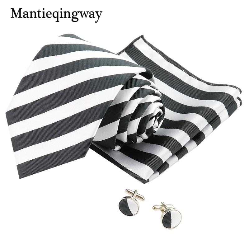 [해외]Mantieqingway 클래식 블랙 & 화이트 줄무늬 폴리 에스터 8.5cm 넥타이 포켓 스퀘어 커프스 링크 남자 결혼식 파티 Gravatas 선물 용품/Mantieqingway Classic Black&White Striped Polyester
