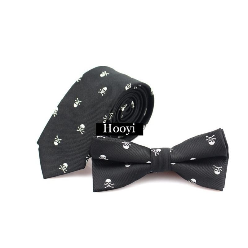 [해외]남자 & s 두개골 슬림 타이 패션 블랙 Bowtie 파티 해군 넥타이 세트 레드 포켓 타월/Men&s Skull Slim Ties Fashion Black Bowtie Party Navy Neck Tie Set Red Pocket towel