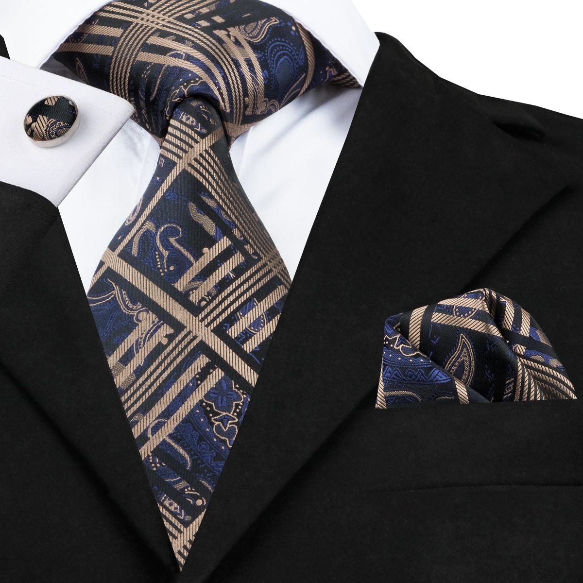[해외]남자에 대 한 SN-1714 격자 무늬 꽃 넥타이 정장 결혼식 넥타이 패션 넥타이 스퀘어 손수건 커 프 스 단추 Gratavas 넥타이/SN-1714 Plaid Floral Ties For Men Formal Wedding Tie Set For Suit Fash