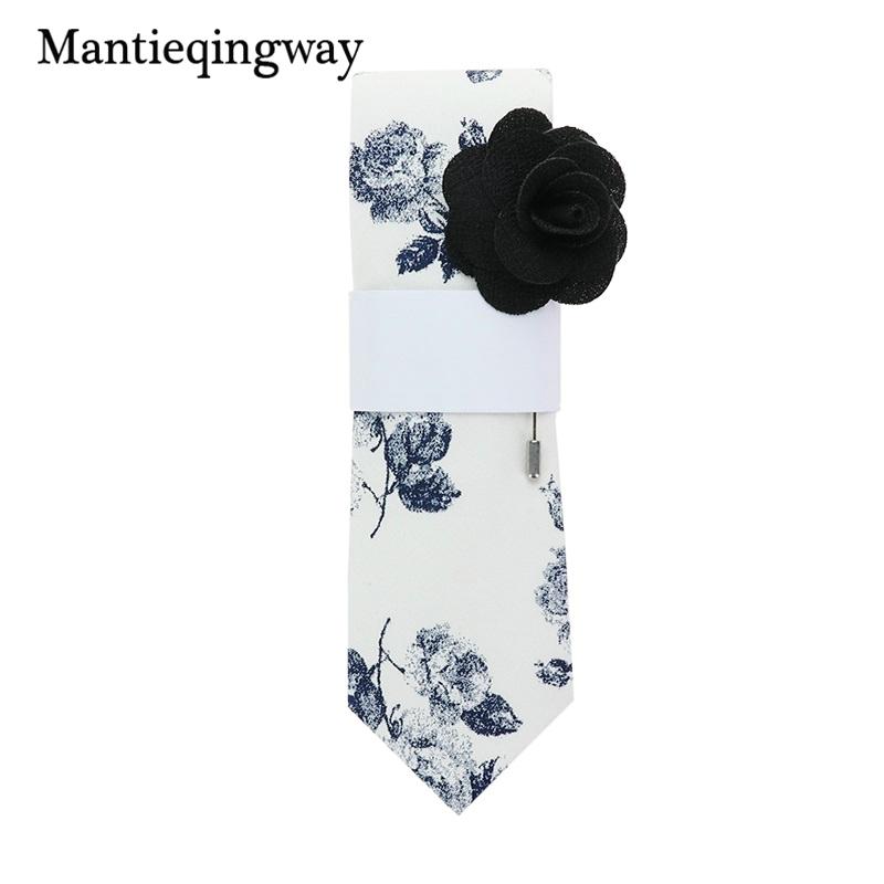 [해외]Mantieqingway 남자에 대 한 참신 플로랄 패턴 목 넥타이 결혼식 턱시도 파티 스키니 TieFree 브로치에 대 한 넥타이/Mantieqingway Novelty Floral Pattern Neck Ties For Men Neckties for Wedd