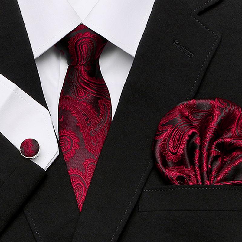 [해외]?남자의 넥타이 백퍼센트 실크 레드 격자 무늬 프린트 자카드 직물 넥타이 + Hanky ??+ 커프스 링크 정장 웨딩 비즈니스 파티 무료 우송 세트/ Men`s Tie 100% Silk Red Plaid print Jacquard Woven Tie + Hanky