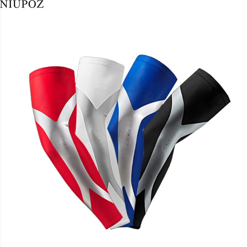 [해외]1PC 높은 탄성 남자 스포츠 긴 Anti-Slip Arm Sleeve Warmers 농구 보호 Stretch 패딩 된 지원 가드 통기 패드 G163/1PC High Elastic Men Sport Long Anti-Slip Arm Sleeve Warmers B