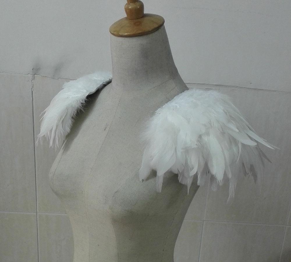[해외]FSP15002WT 손으로 만든 수탉 깍는 깃털 epaulettes/Hand-crafted rooster coque feather epaulettes FSP15002WT