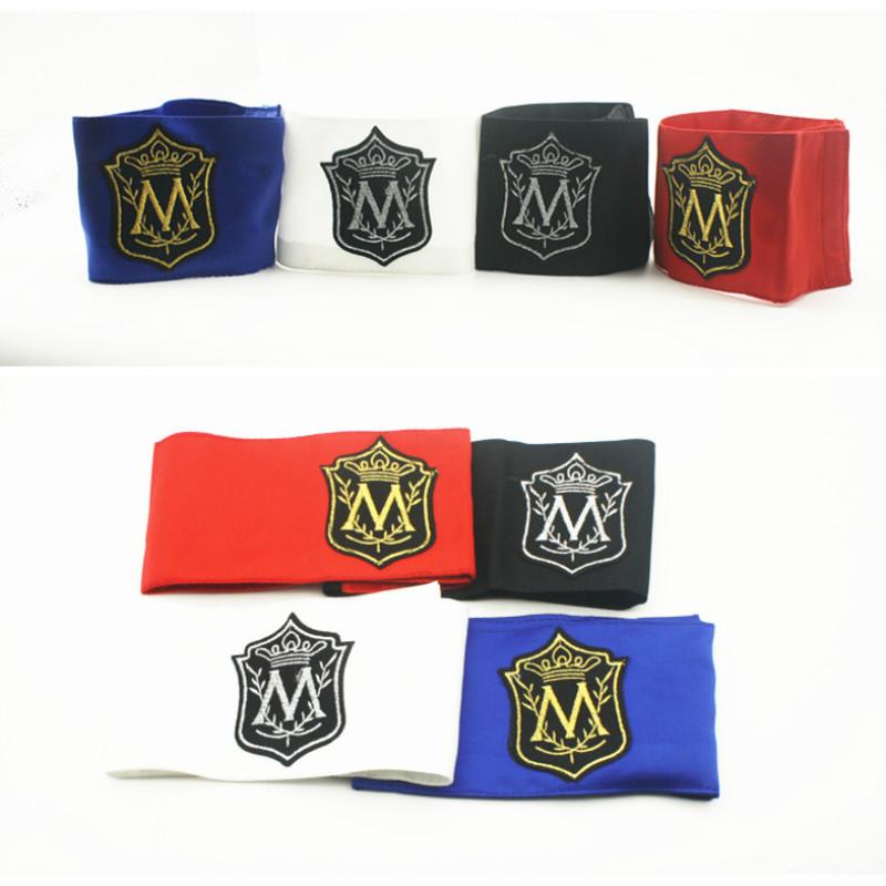 [해외]마이클 잭슨의 메모리에 MJ 편지 Stitchwork MagicTape 레드 블랙 펑크 패션 인쇄 팔 밴드 암 워머/MJ In Memory Of  Michael Jackson Classic M Letter Stitchwork MagicTape Red Black