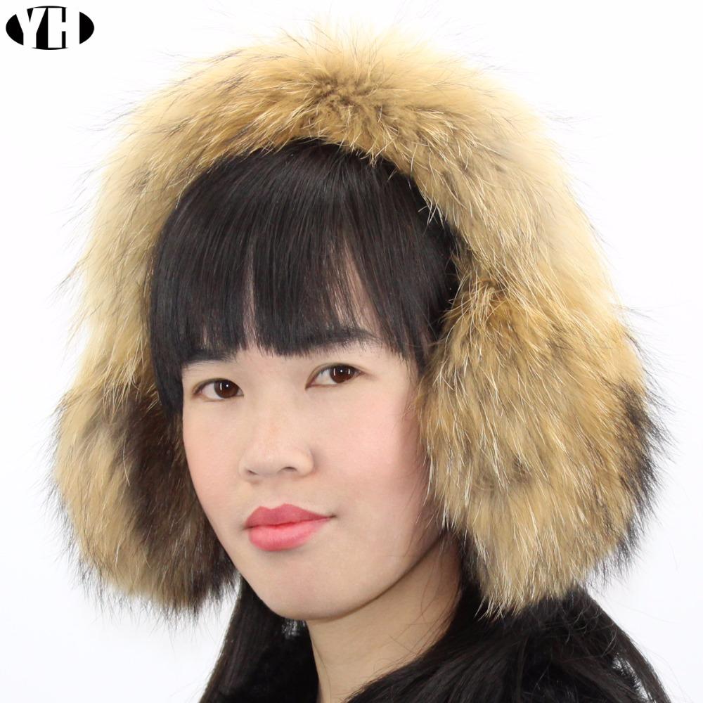 [해외]럭셔리 겨울 여성 따뜻한 여우 모피 귀고리 유령 레이디 천연 너구리 모피 귀 머프 충만 2018 새로운 패션/Luxury Winter Women Warm Real fox fur Earmuffs Earlap Lady natural raccoon fur ear Mu
