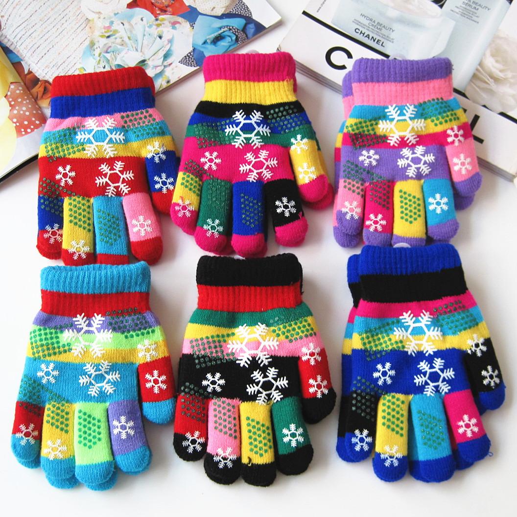 [해외]가을과 겨울 아이들이 열 원사 니트 장갑 소년과 소녀 눈 인쇄 다채로운 장갑 아이 겨울 장갑을 두껍게/Autumn and winter kids thicken thermal yarn knitted gloves boy and girls snow print color