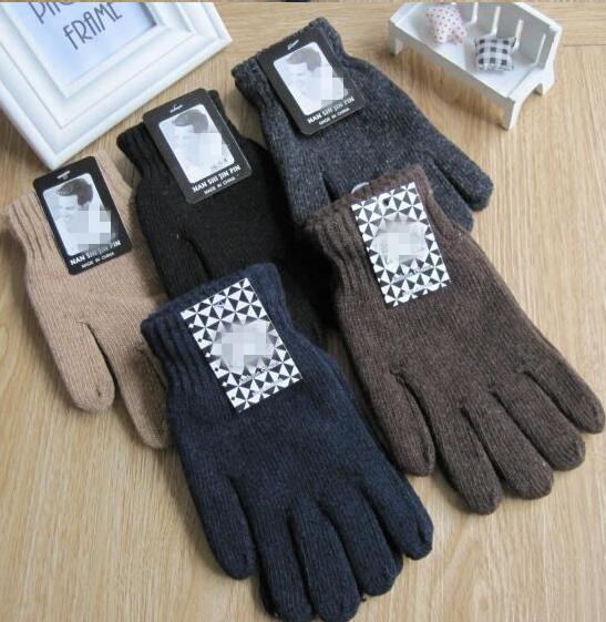 [해외]가을과 겨울 남성 & 패션 단색 니트 장갑 남성 열 따뜻한 블랙 모직 니트 장갑 장갑을 두껍게/Autumn and Winter men&s fashion solid color knitted gloves male thicken thermal warm blac