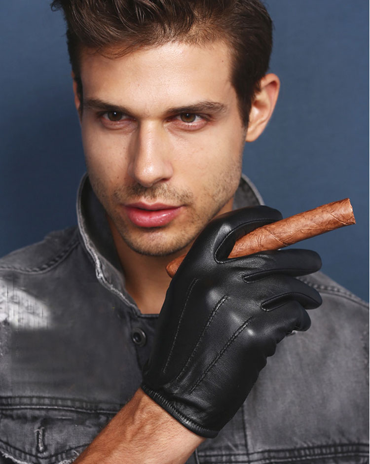 [해외]남성 가죽 뒤에서 3 라인 unlined 가죽 가죽 장갑 검정색/men fashion back three lines  unlined  Italy top leather leather gloves in black