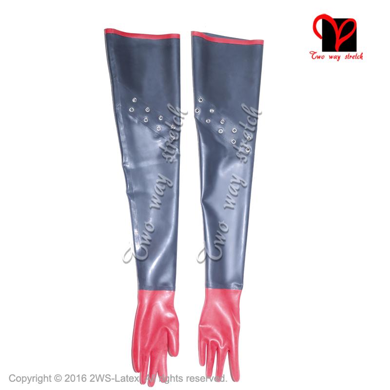 [해외]섹시한 BlackRed 라텍스 긴 장갑 오페라 장갑 고무 장갑 건틀 고무 장갑 라텍스 장갑/Sexy BlackRed Latex long Gloves opera Mittens Rubber Gauntlet Gummi Rubber gloves latex gloves