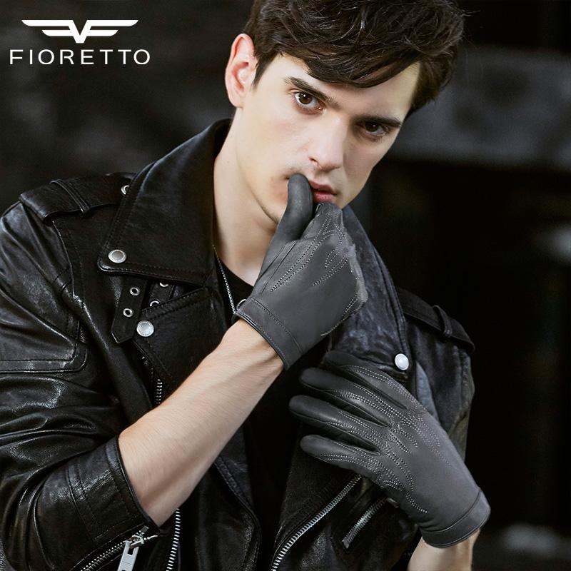 [해외]FIORETTO 남자에 대 한 터치 스크린 가죽 장갑 줄 지어 가죽 구동 장갑 장갑 인쇄 손으로 양각 된 따뜻한 겨울 장갑을 만들었다/FIORETTO Touch Screen Leather Gloves for Men Lined Leather Driving Glov