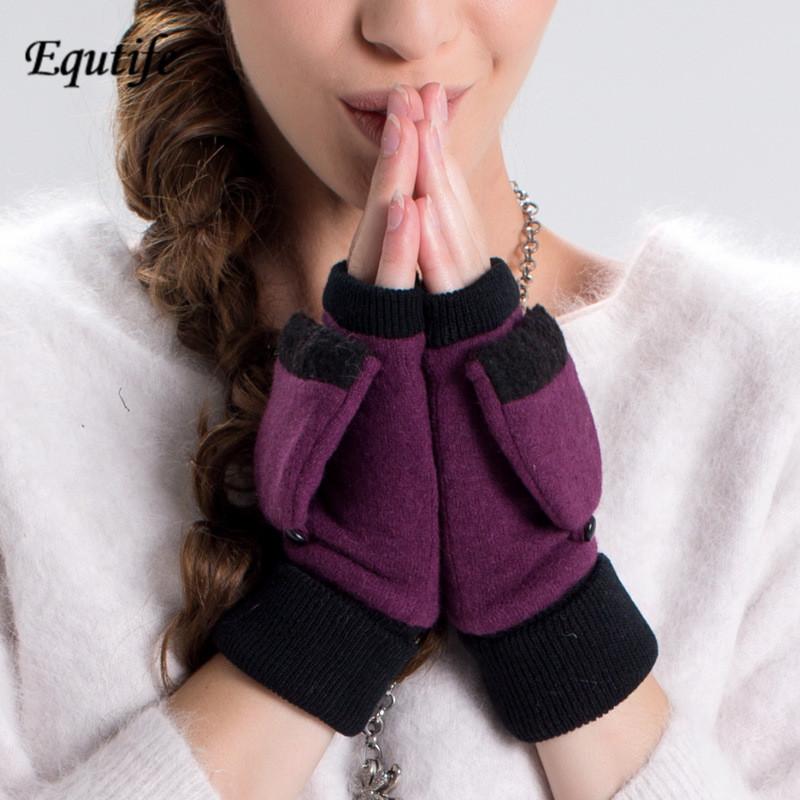 [해외]새로운 여성 패션 핑거리스 토끼 양모 장갑 귀엽고 따뜻하게 뒤집기 장갑 학생 학생 사무실 절반 장갑 A3056 입력 유지/New Women Fashion Fingerless Rabbit Wool Gloves  Cute Keep Warm Flip Glove Stu