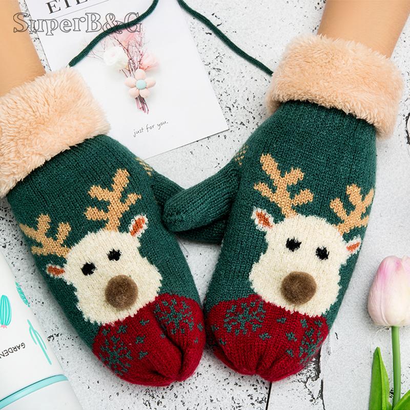 [해외]여성 겨울 장갑 겨울 장갑 귀여운 만화 인쇄 니트 따뜻한 장갑 숙녀 야외 전체 손가락 운전 장갑 니트 장갑/Christmas Gloves For Women Winter Mittens Cute Cartoon Print Knitted Warm Glove Ladies