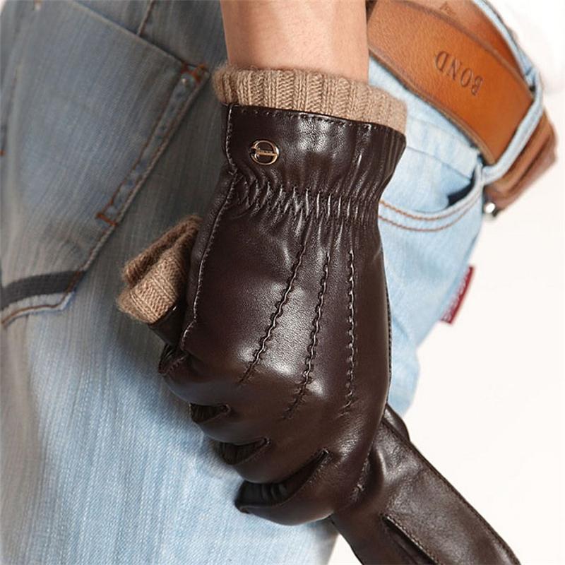 [해외]패션 가죽 장갑 운전 니트 라이닝 남자 진짜  염소 장갑 손목 탄성 5 손가락 Em006wr/Fashion Leather Gloves Driving Knitted Lining Men Real Genuine Goatskin Glove Wrist Elastic Fi