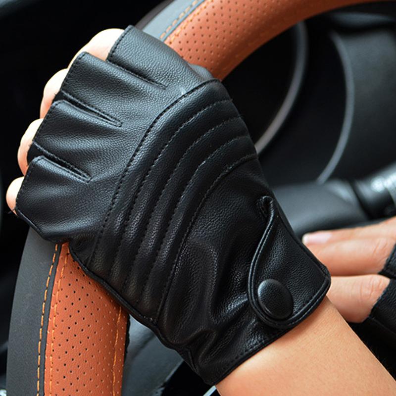 [해외]여자를롱 키퍼 패션 하프 핑거 운전 장갑 PU 가죽 핑거리스 장갑 블랙 장갑/LongKeeper Fashion Half Finger Driving Women Gloves PU Leather Fingerless Gloves For Women Black Mitten