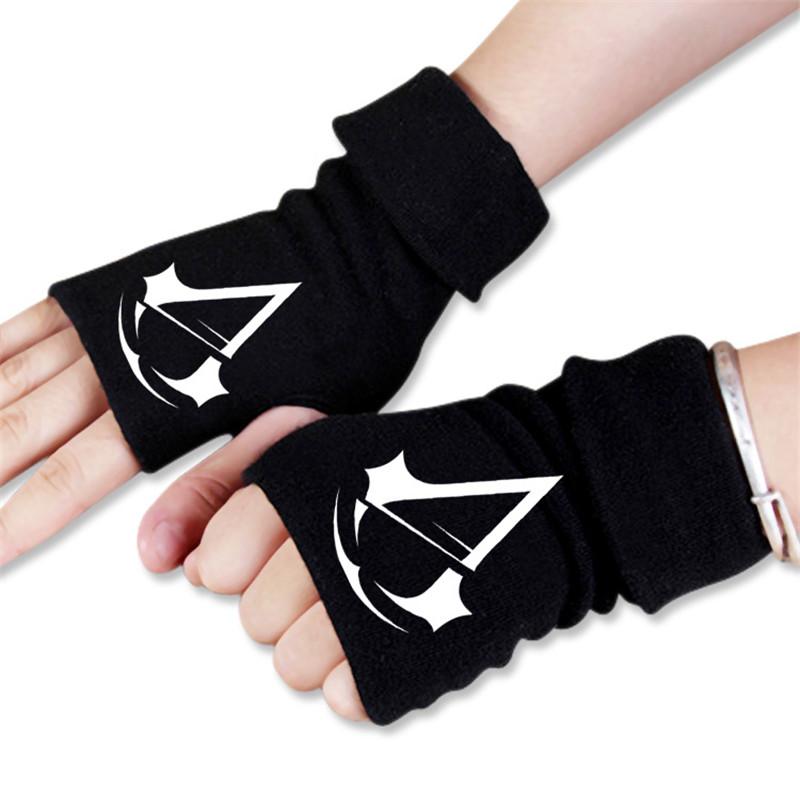 [해외]남성 여성 만화 게임 Assassin & s Creed 인쇄 된 겨울 따뜻한 반 손가락 장갑 코스프레 액세서리/Men Women Anime Cartoon Game Assassin&s Creed Printed Winter Warm Half Finger Gl