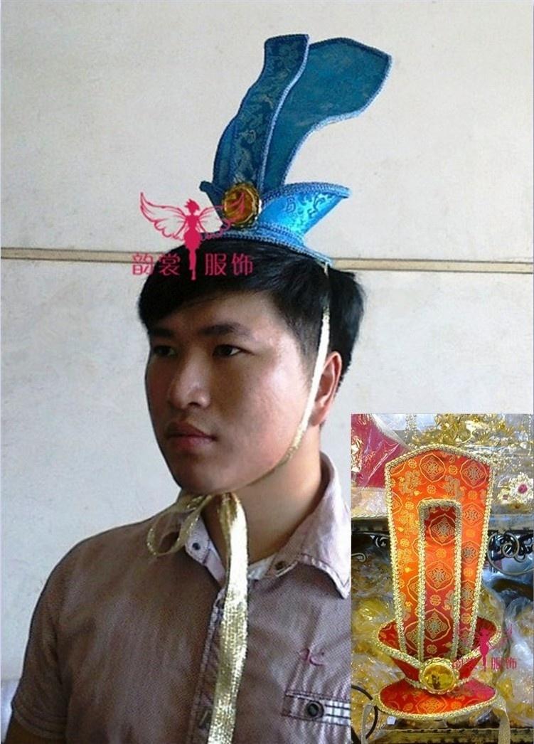 [해외]수제 남성 의상 헤어 액세서리 코스프레 한푸 크라운 피스 2 색 한부 신랑 모자 헤어 티아라/Handmade male costume hair accessory cosplay hanfu crownpiece 2 colors hanfu groom hat hair ti