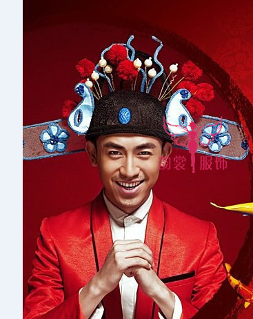 [해외]신부와 신랑 또는 No.1 Scholar Officer Hat을빨간색 화려한 고대  웨딩 헤어 티아라/Red Gorgeous Ancient Chinese Wedding Hair Tiaras for Bride and Groom or No.1 Scholar Offi
