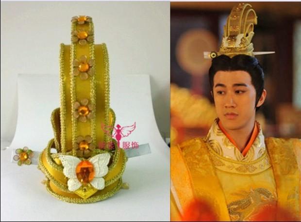 [해외]?TV  전설의 황후 우 메이 니앙 천황 골든 헤어 티아라 코스프레 남자 & 헤어 피스/ TV Play Legend of Chinese Empress Wu Mei Niang Emperor Golden Hair Tiaras Cosplay Men&s Hair
