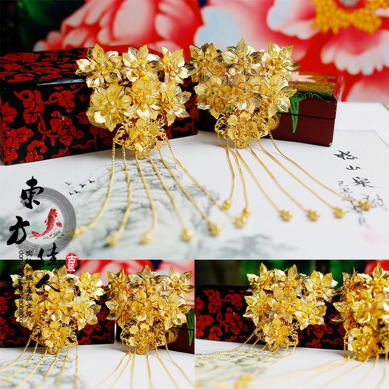 [해외]결혼식 신부 가격에 대 한 아름 다운 꽃 골드 비즈 헤어 스틱 1 쌍입니다./Beautiful Flower Gold Beads hair stick for wedding bride price is for 1 pair