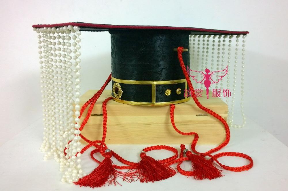 [해외]블랙 컬러 그랜드 남성 의상 헤어 액세서리 헤어 피어싱 커튼 천황 모자 저우 왕조의 신랑과 웨딩 헤어 티아라/Black Color Grand Male Costume Hair Accessory Hair Piece Beading Curtain Emperor Hat