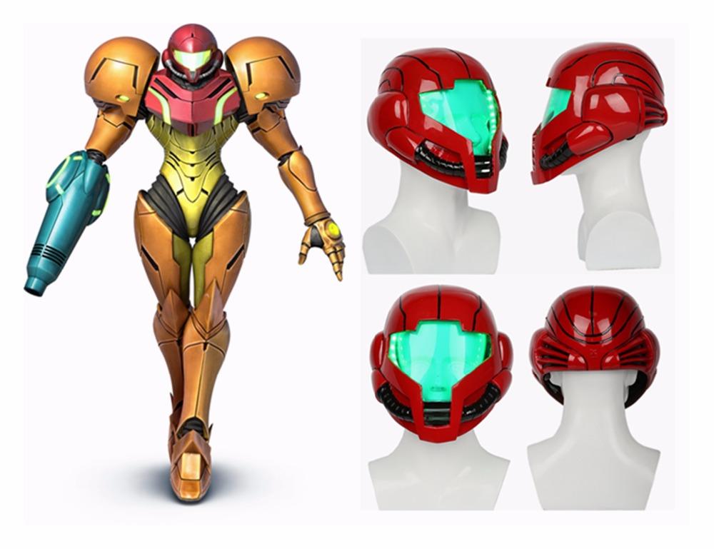 [해외]Samus Aran 헬멧 라이트 업 메트로이드 풀 헤드 마스크 레이싱 스타일 헬멧 수지 COSplay 소품/Samus Aran Helmet Light Up Metroid Full Head Mask Racing Style Helmet Resin COSplay Pr