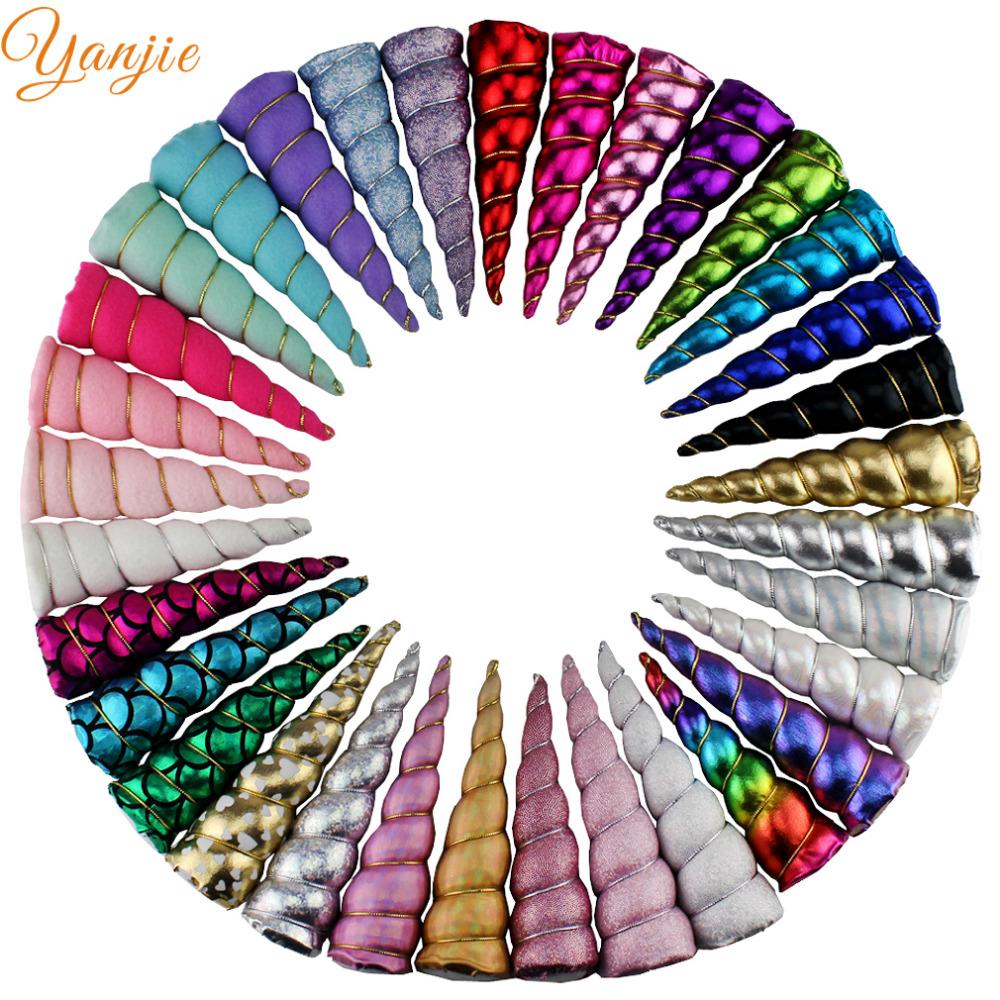 [해외]10pcs / lot 5 & & 레인보우 유니콘 경적 소녀 파티 헤어 액세서리 패딩 된 반짝이 DIY Hairbands 생일 선물 Kids Headbands/10pcs/lot 5&& Rainbow Unicorn Horn For Girls Party