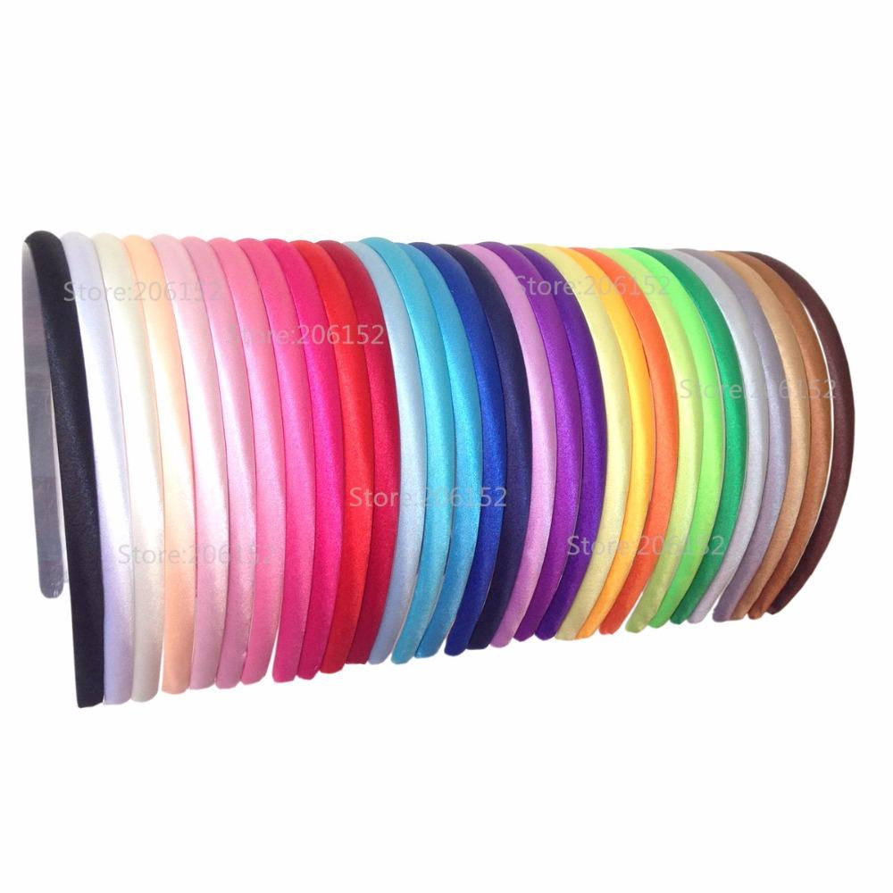 [해외]60pcs / lot 30colors 일반 어린이를일반 새틴 패브릭 덮여 머리띠 10mm 고체 패브릭 덮여 수지 헤어 밴드 플라스틱 머리띠/60pcs/lot 30colors Plain Satin Fabric Covered Headband 10mm Solid Fa