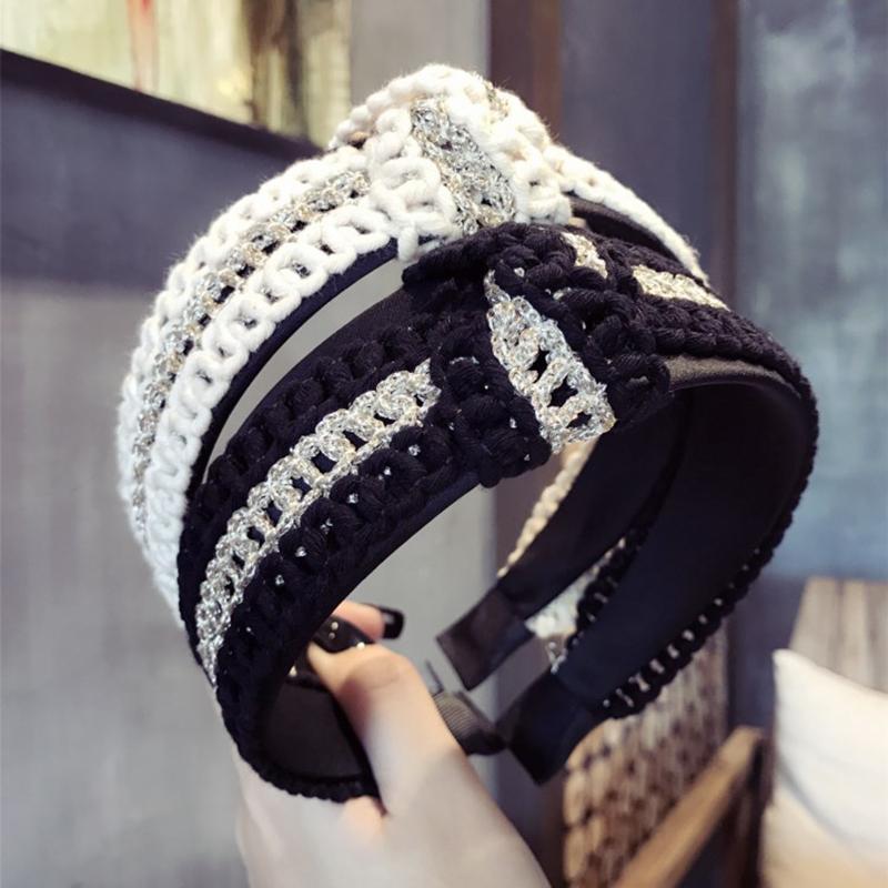 [해외]하이 엔드 패브릭 니트 매듭 hairbands bowknot 넓은 머리띠 후프 2017 패션 헤어 액세서리 여성을새로운 머리 장식 헤어 밴드/High-end fabric knit knot hairbands bowknot wide headband hoop 2017