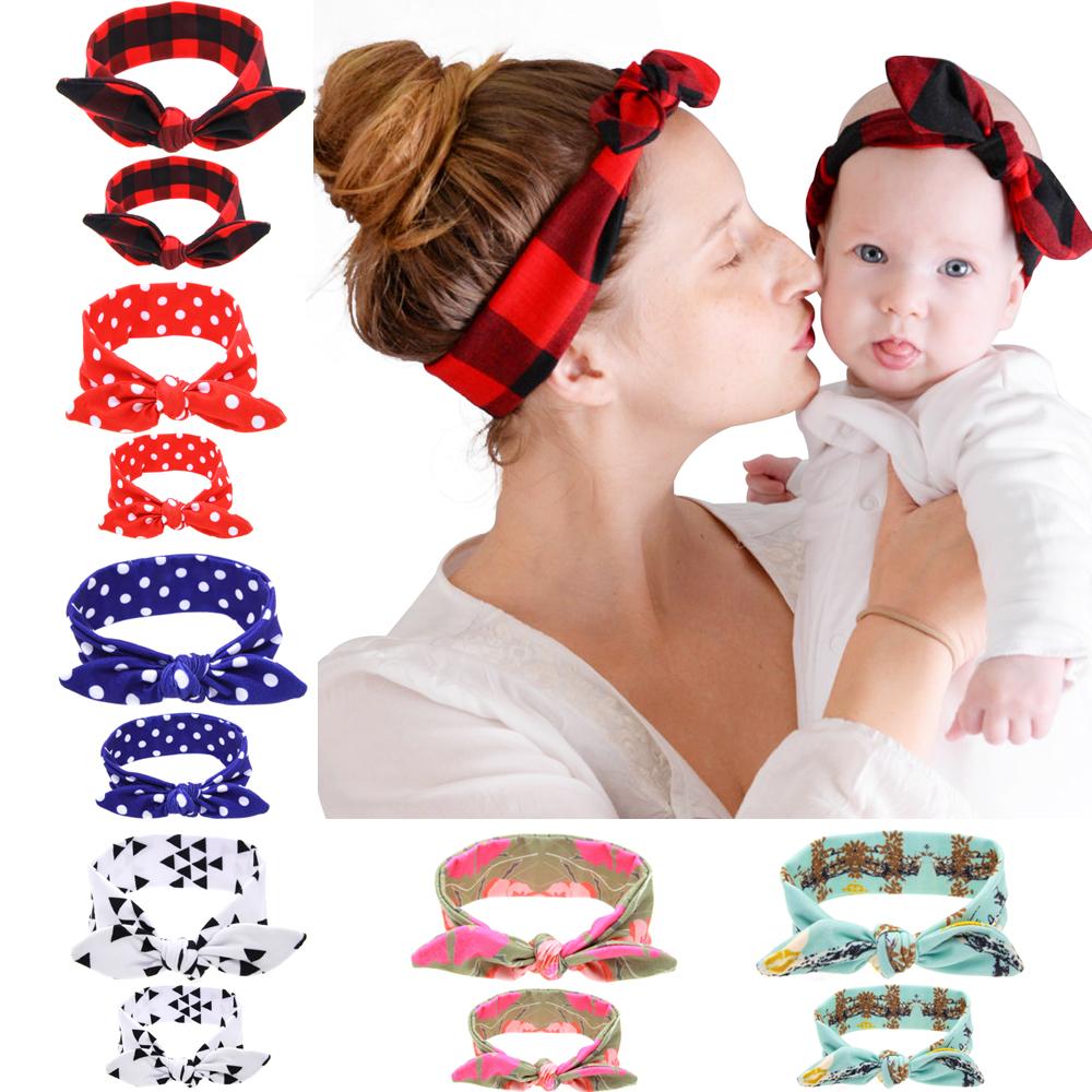[해외]2pcs / set (엄마 + 아기) 토끼 귀 머리띠 매듭 보우 코튼 헤어 액세서리 넥타이 보우 스트레치 후프 여자 아기 꼬마 머리띠 kk1720/2pcs/set (Mom+Baby) Rabbit Ears Headbands Knot Bow Cotton Hair A