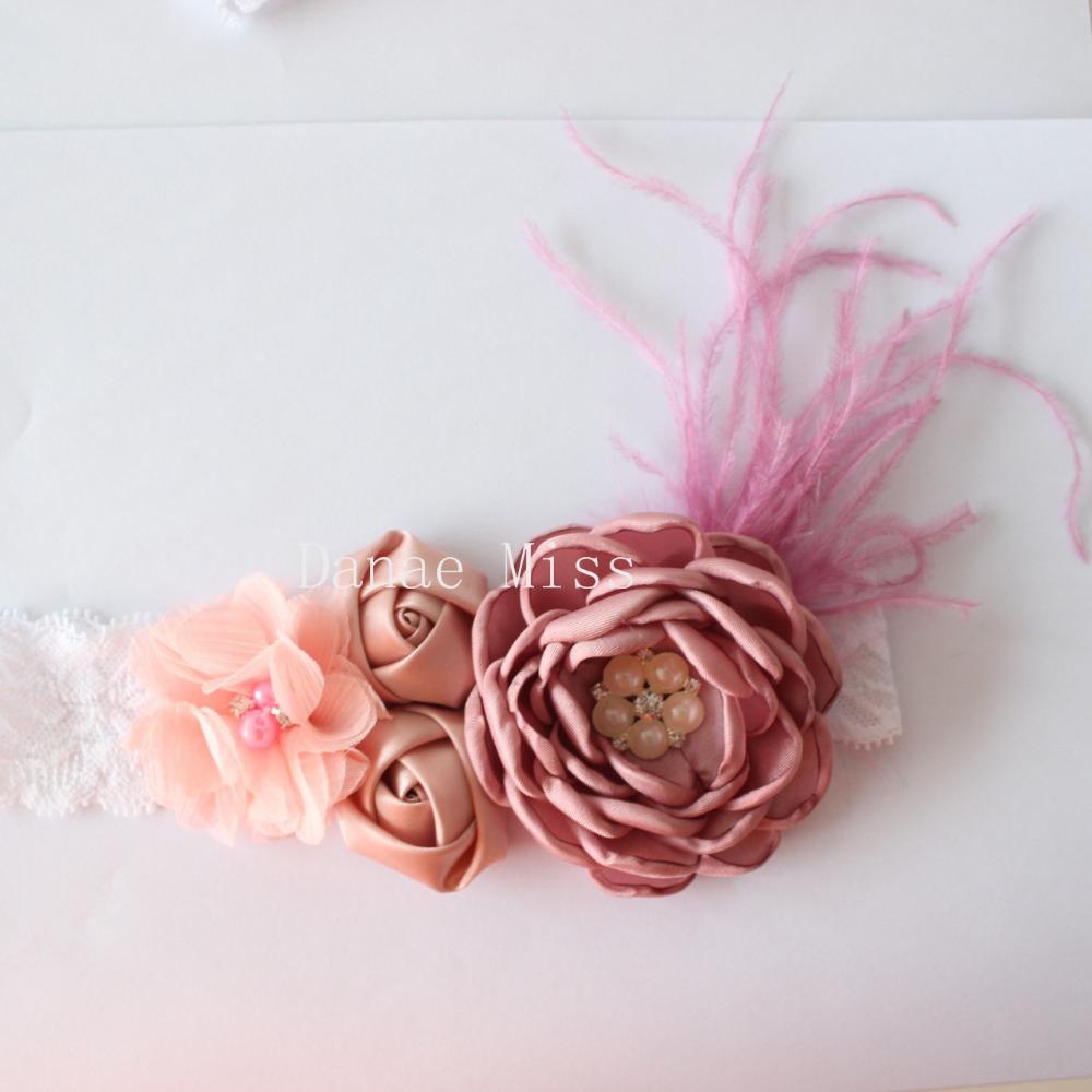 [해외]소녀 깃털 화상 꽃 머리띠 레이스 머리띠 쉬폰 꽃 머리띠 로즈 계층화 된 양귀비 꽃 머리띠 1pcs/Girl Feather Burn flower headband lace Headbandchiffon flower Headband Rose Layered Poppy