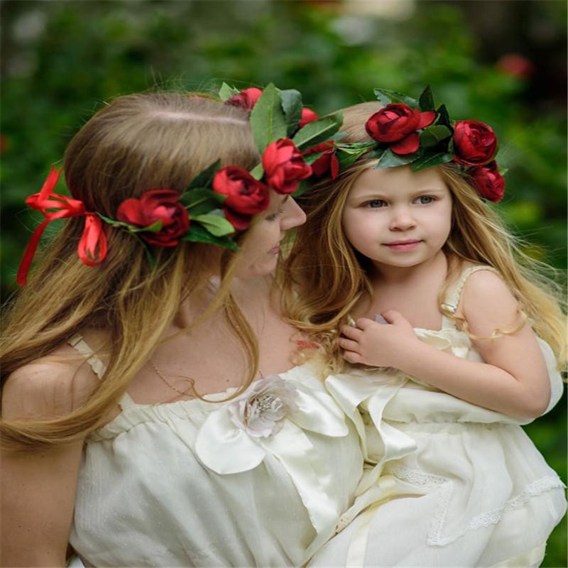 [해외]2pcs / set 엄마와 나 일치하는 머리 띠 여자에 대 한 장미 헤어 액세서리 패브릭 꽃 원 어린이 머리 장식 여성 플로레스/2pcs/set Mommy and Me Matching Headbands Rose Hair Accessories For Girls F