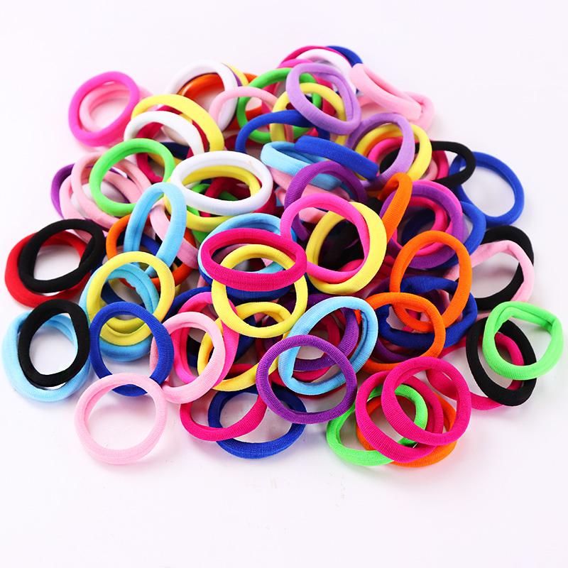 [해외]100PCS / Lot 4CM 코 튼 믹스 색상 여성용 헤어 헤어 밴드 포니 테일 홀더 넥타이 껌 소녀 헤어 액세서리/100PCS/Lot 4CM Cotton  Mix Colors Elastic Hair Bands For Women Hair Ponytail Hol