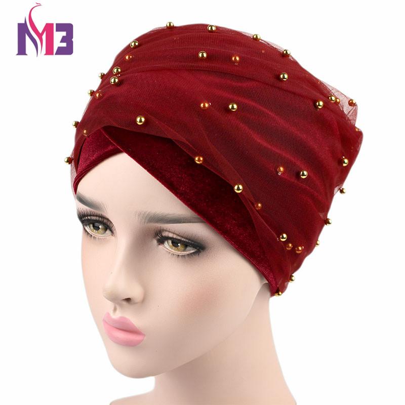 [해외]새로운 패션 여성 벨벳 긴 Turban 머리띠 메쉬 벨벳 더블 레이어 골드 페르시 이슬람 Hijab 스카프 Turbante 넥타이 Headwrap/New Fashion Women Velvet Long Turban Headband Mesh Velvet Double