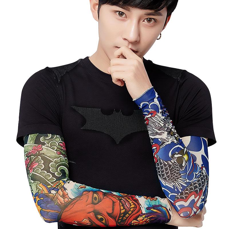 [해외]3D 문신 슬리브 팔 남자 여자 여름 태양 보호 장갑 운전 얼음 실크 슬리브를 타고 1 piece 48CM * 12CM * 8CM/3D Tattoo Sleeves  Arm Men Women  Summer Sun Protection Gloves Driving Ri
