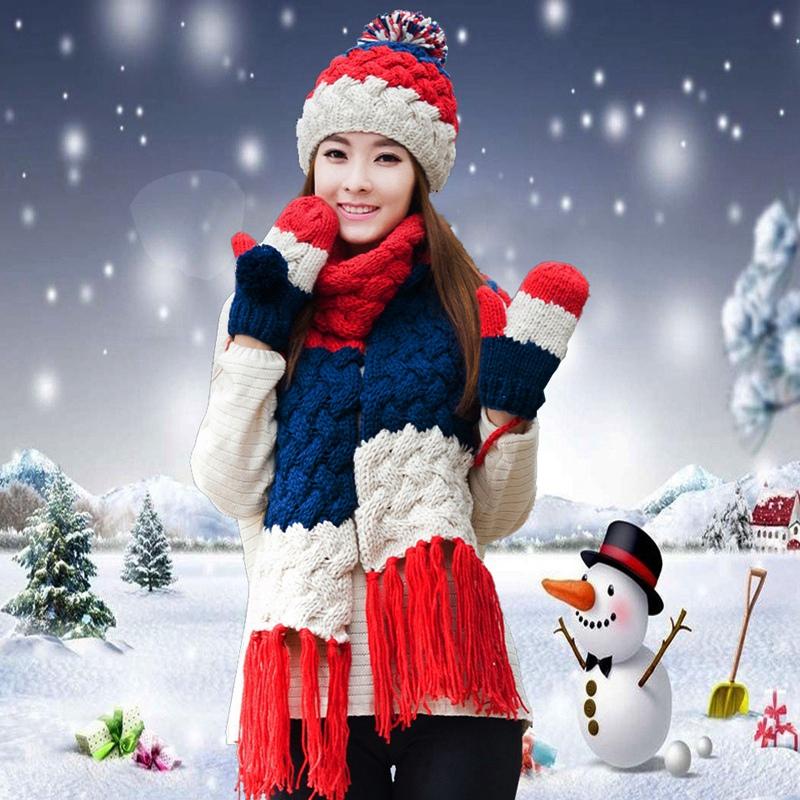 [해외]모자 스카프 장갑 3 조각 세트 머플러 스카프 여자 겨울 겨울 모자 니트 모자 크리스마스 선물 농축/Hat scarf gloves three pieces set one piece muffler scarf girls female winter knitted hat