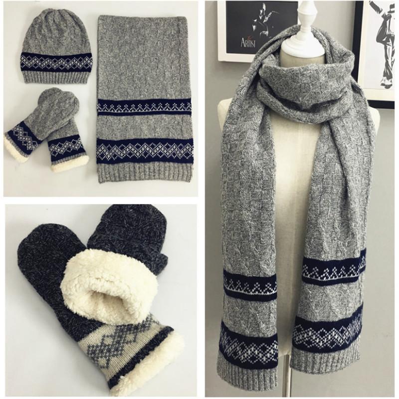 [해외]남성용 니트 겨울 스카프 모자 장갑 세트 크로 셰 뜨고 따뜻한 두꺼운 벨벳 스카프 3piece 세트 남자 패션 액세서리/Knitted Winter Scarf Hat Glove Sets For Men Crochet Warm Thick Velvet Scarves 3