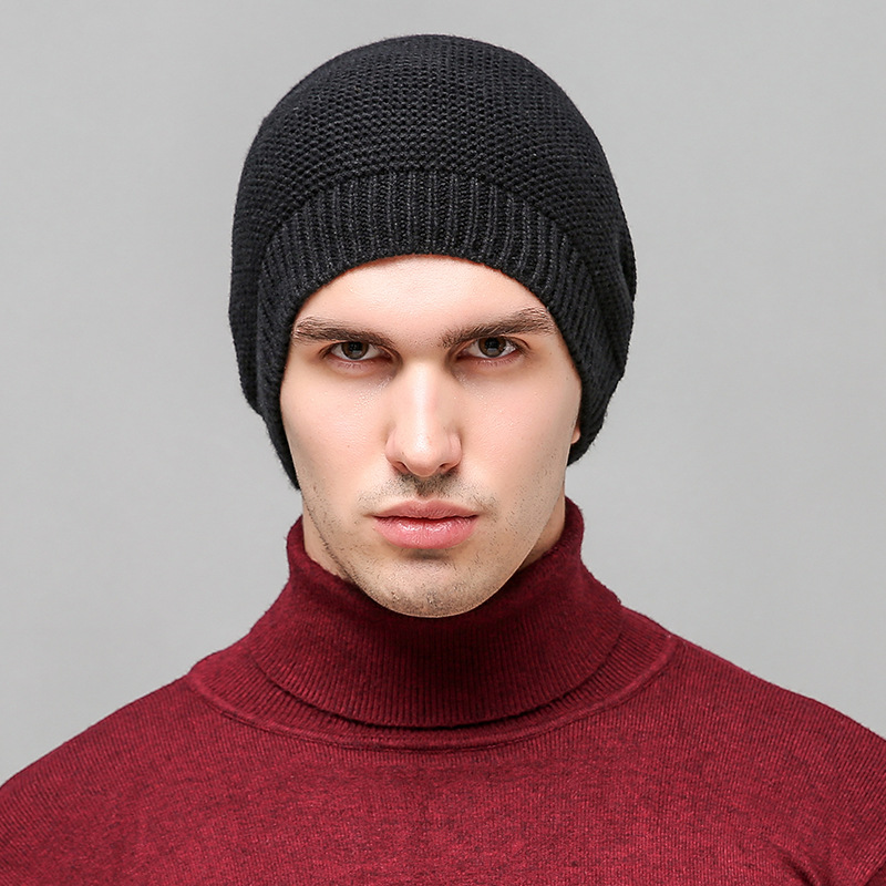 [해외]퓨어 블랙 가을 겨울 모자 야외 니트 울 따뜻한 모자 클래식 windproof 남자 모자/Pure Black Autumn Winter Cap Outdoor Knit Wool Warm Hat Classic Windproof Man Hat
