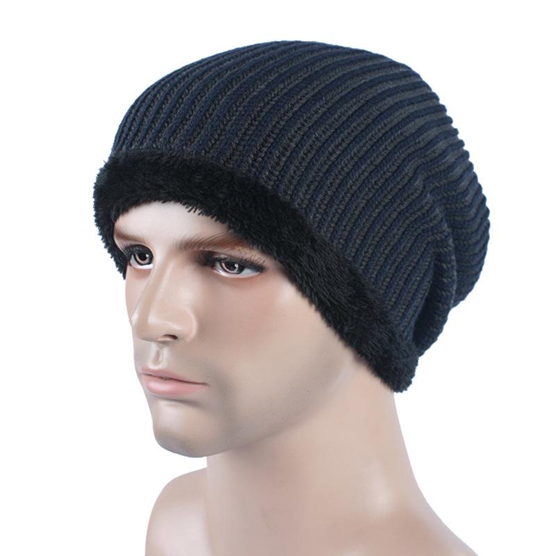 [해외]새로운 겨울 니트 모자 캐시미어 양모 모자 야외 방풍 스키 따뜻한 모자 더블 사이드 순수 컬러 깃털 맨 모자/New Winter Knitted Hat Cashmere Wool Cap Outdoor Windproof Ski Warm Hat Double Sides