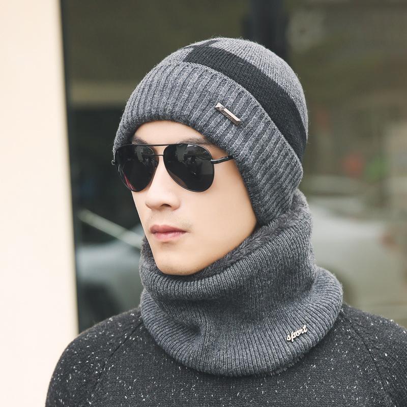 [해외]XIANXIANQING 겨울 따뜻한 남자 모자 + 스카프 세트 모직 뜨개질 모자 짙은 스카프 망 패션 모자 세트 남자 솔리드 모자 AL27650/XIANXIANQING Winter Warm Men Hat + Scarf Set Woolen Knitting Caps