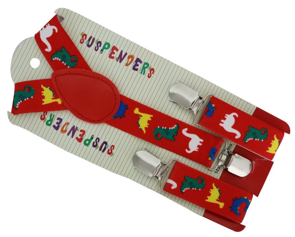 [해외]2016 새로운 2.5cm의 넓은 조정 레드 공룡 동물 소년 소녀들을멜빵 교정기를 인쇄/2016 New 2.5cm Wide Adjustable Red Dinosaurs Animal Print Suspenders Braces For Boys Girls