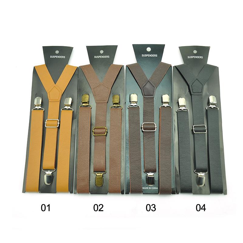 [해외]남성 여성 클립 온 중괄호 탄성 슬림 Y- 백 멜빵에 대 한 최신 고품질 가죽 PU 4 색 50 인치 멜 빵/Newest High quality Leather PU 4 color 50 inch suspenders for Men women Clip-on Brace