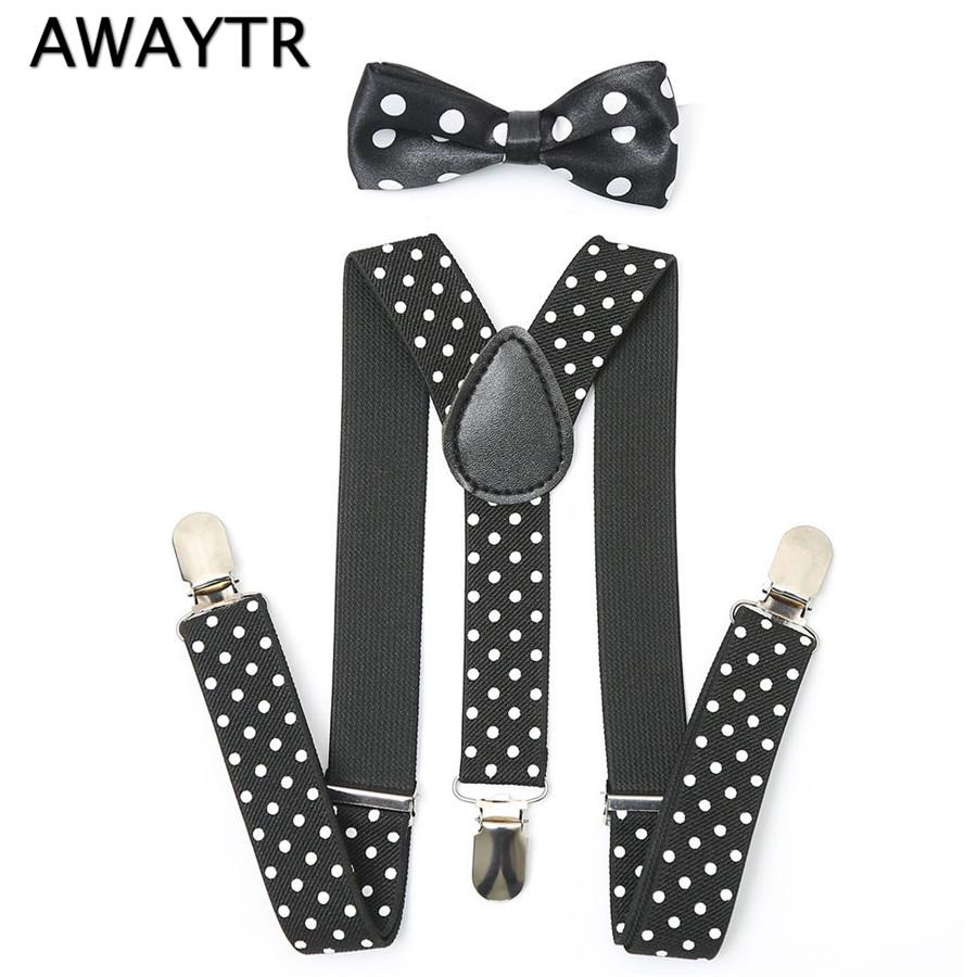 [해외]보이 보타 넥타이 멜빵 새로운 차가운 아이 블랙 도트 프린트 3 클립 탄성 괄호 세트 한국 스타일 베이비 걸즈 바지 멜빵/Boy Bow Tie Suspenders New Cool Kids Black Dot Print 3 Clips Elastic Braces Se
