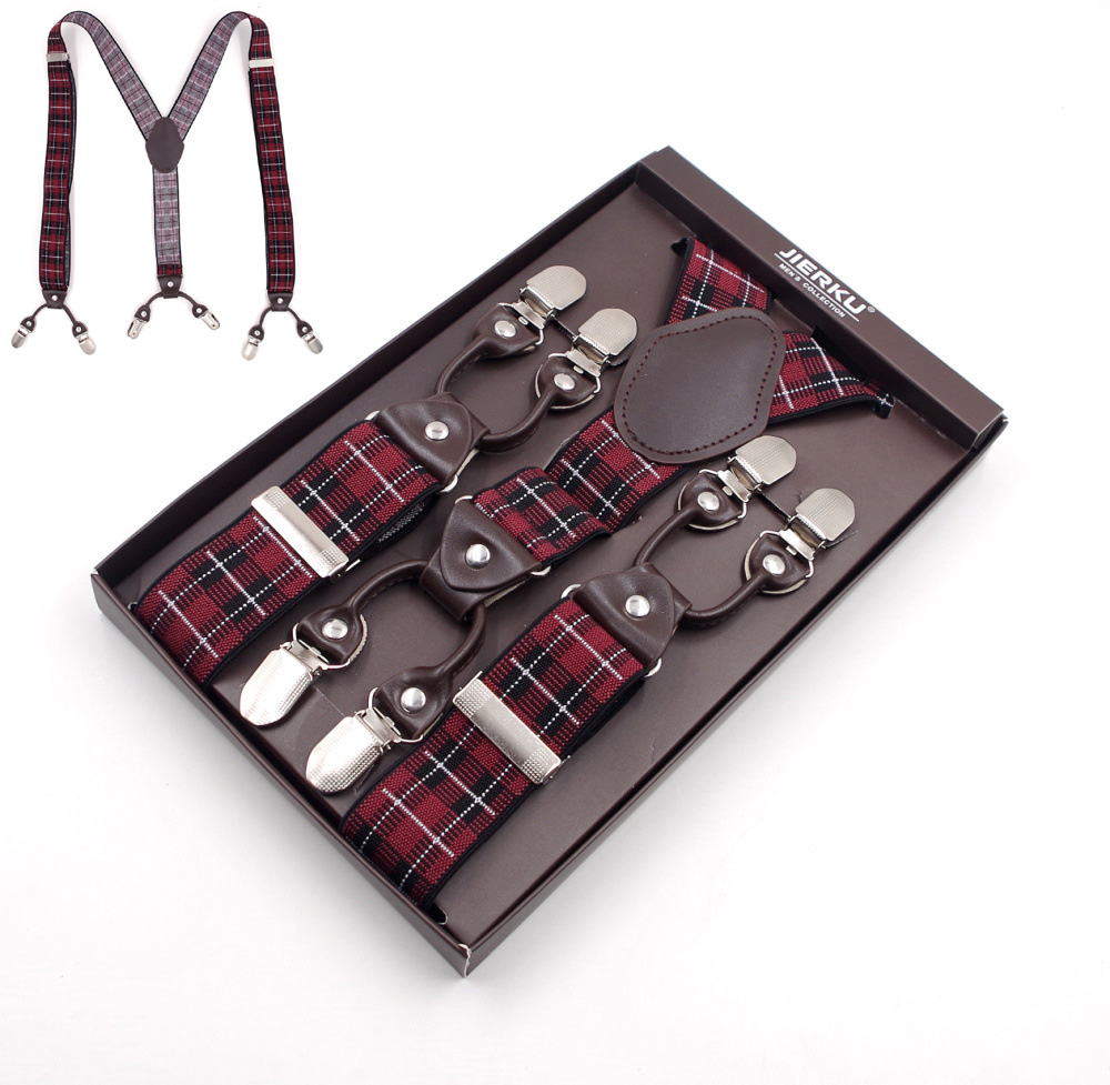 [해외]6 클립 격자 무늬 탄성 조절 바지 괄호, 망 멜빵, 웨딩 멜빵/6 Clips Plaid Elastic adjustable trouser braces, Mens suspenders, Wedding suspenders