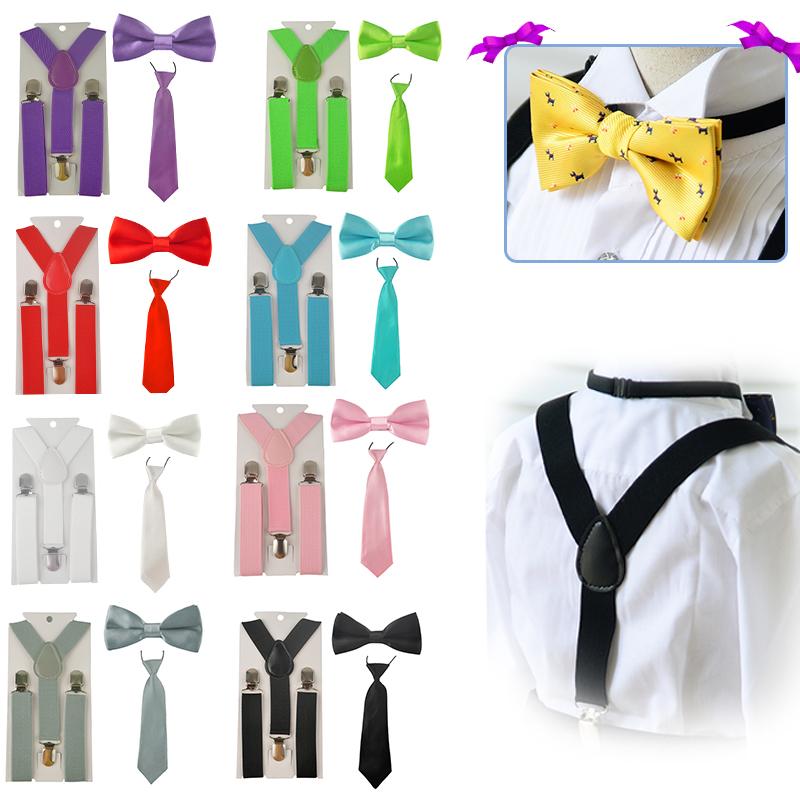 [해외]패션 소년 소녀 아이 Suspender 조정 가능한 탄성 Y-Back 버팀대 아기 멜빵 세트 활 넥타이 + 넥 티 결혼식 HHtr0001/Fashion Boys Girl kid Suspender Adjustable Elastic Y-Back Braces Baby