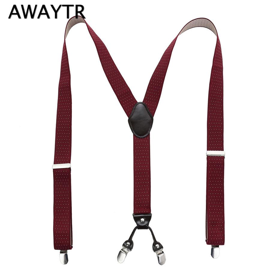 [해외]AWAYTR  가죽 남성 멜빵 패션 성인 레드 와인 4 개 클립 제인 탄성 스트랩 / 바지 점 / 격자 무늬 Bretels Mannen/AWAYTR Genuine Leather Male Suspenders Fashion Adult Red Wine 4 Clips