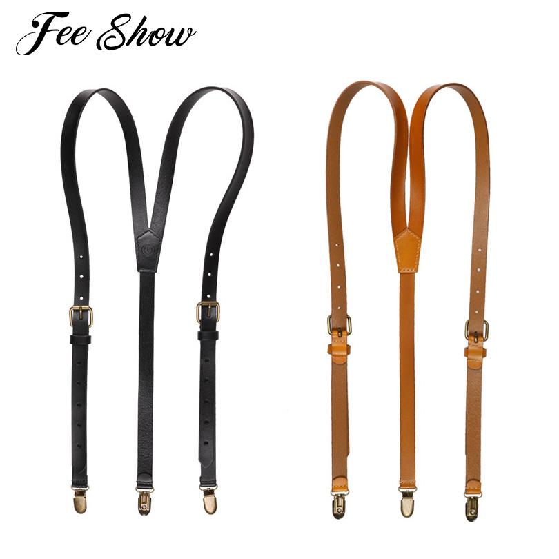[해외]새로운 진짜 가죽 Y 모양 멜빵 금속 클립 남자 & s 조정 가능한 어깨 결박 진짜 가죽 SuspenderClips/New Genuine Leather Y-shaped SuspendersMetal Clips Men&s Adjustable Shoulder