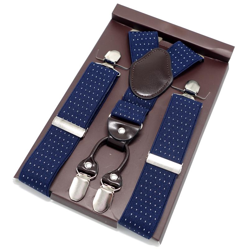 [해외]해군 파란색 가죽 서스펜더 길이 조절 가능 남성용 멜빵 Y-back bretels women tirantes 성인 서스펜더 115cm MBD8475/Navy Blue Leather Suspenders Length-adjustable Male Suspenders
