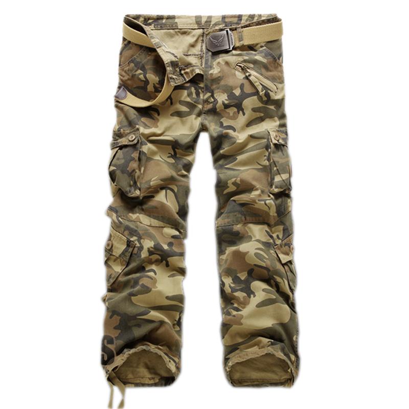 [해외]남성용 멀티 포켓 캐주얼 위장 바지 남성용 밀리터리용 카고 바지 쿨러 트루 어스 루즈 팬츠 신품 남성용/Men&s Multi-Pocket Casual Camouflage Pants Men Military Cargo Pants Washed Trouers Loose