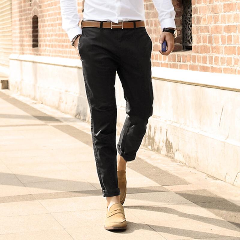 [해외]2017 남성 새로운 슬림 맞는 캐주얼 바지 남성 단색 코튼 스트레이트 패션 통기성 바지 남성 고품질 영국 스타일 바지/2017 Men new slim fit casual pants men solid cotton straight fashion breathable